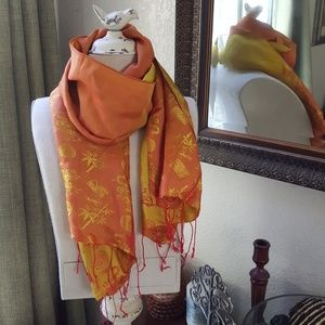 Orange and red tasseled silk scarf **No tags